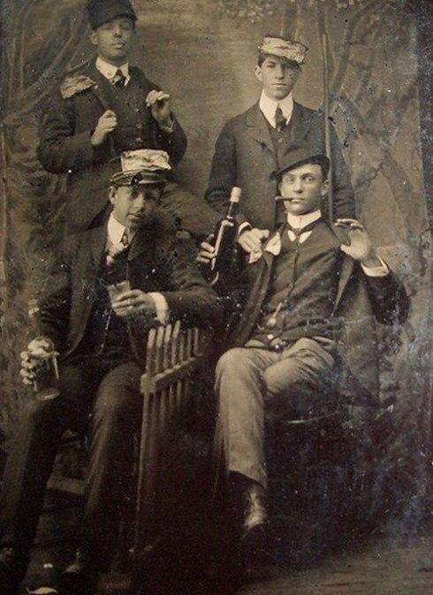 drinking-group-handsup