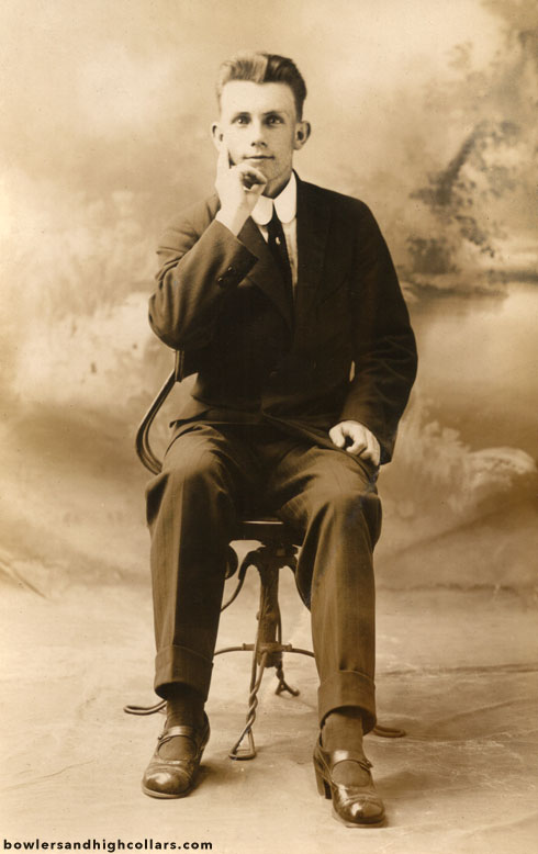 Man in mary janes shoes. RPPC. Private Collection.
