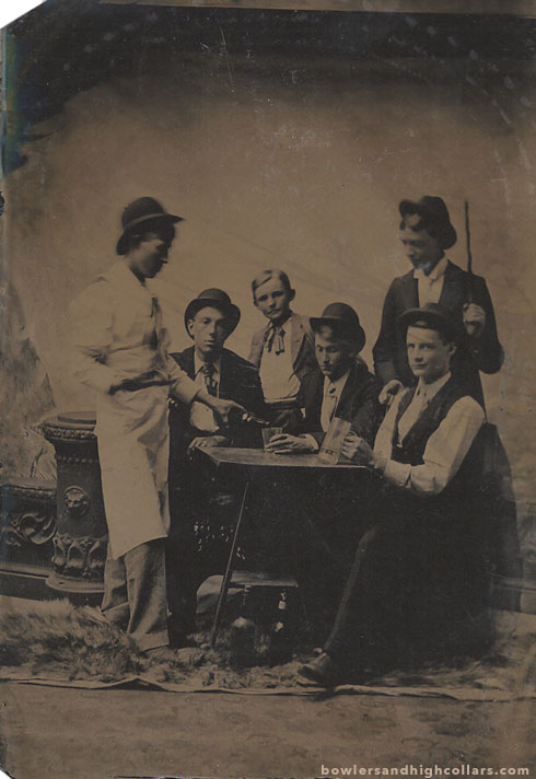 Barkeep serving group. Tintype. Private Collection.