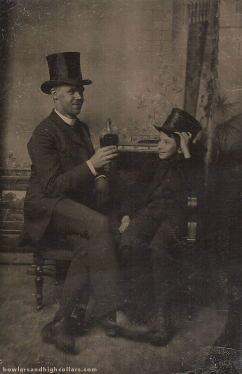 Father and son in top hats. Tintype. Private Collection.