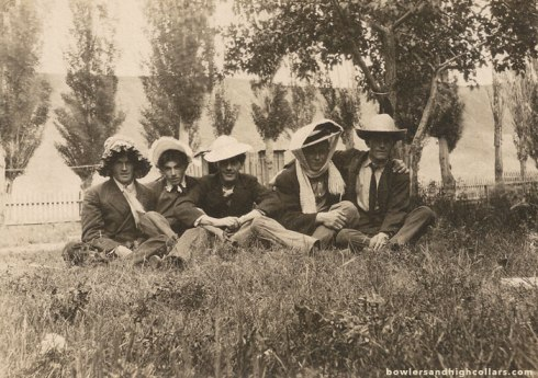 5 buddies in women's hats. RPPC. Private Collection.