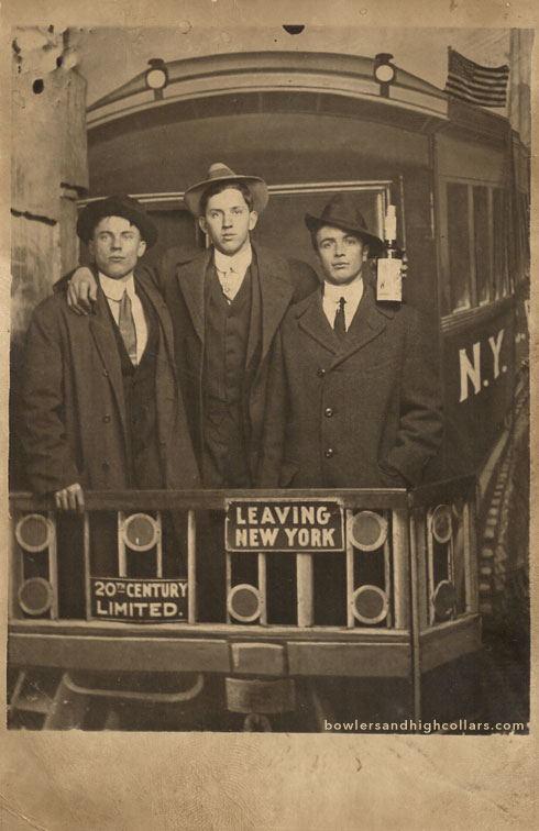New Yorkers and a Wilson whiskey bottle RPPC. Private Collection.