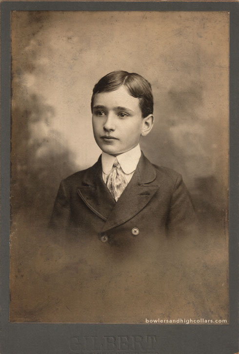 Portrait of young boy by GILBERT. Cabinet card. Private Collection.