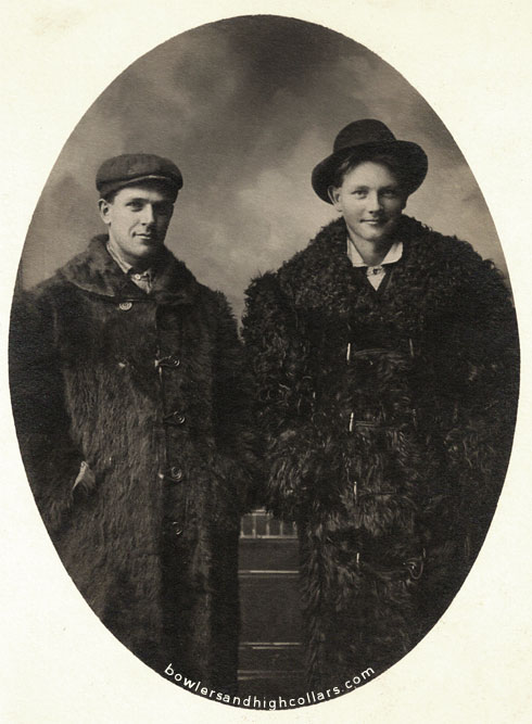 Hand & Arthur in Buffalo fur coats. RPPC. Private Collection.