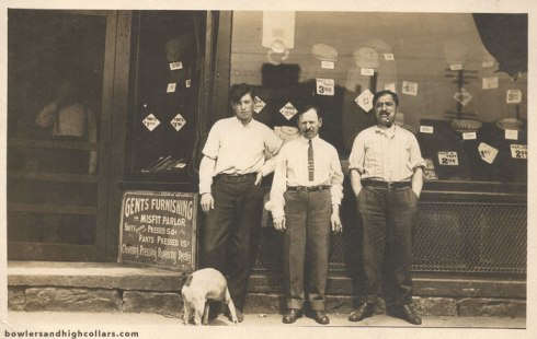 Gents Furnishing storefront. RPPC. Private Collection.