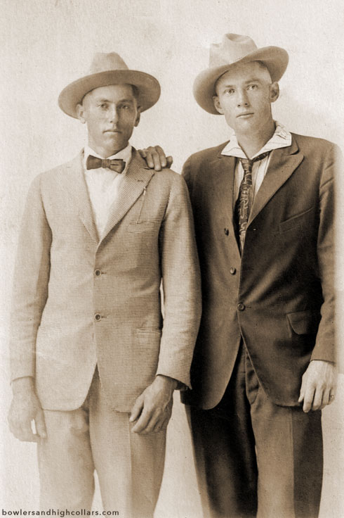 Two fashionable brothers. 1910s. RPPC. Private Collection.