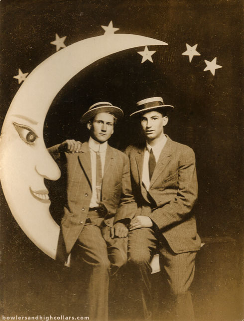 Paper moon duo. RPPC. Private Collection.