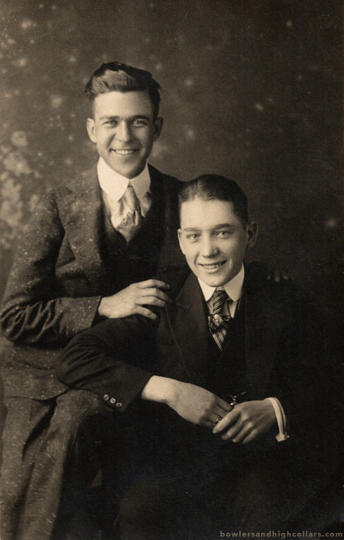 Two smiling buddies. RPPC. Private Collection.