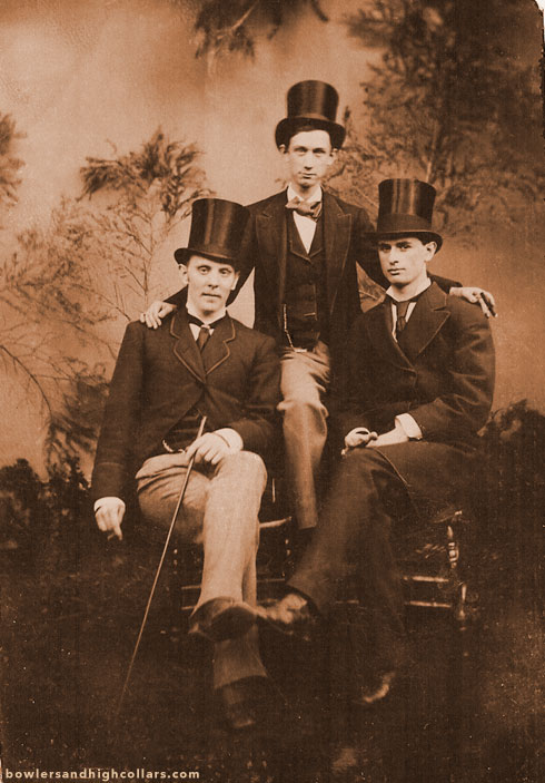 Trio in top hats. Tintype. Private Collection.