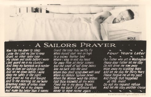 1943 version of A Sailor's Prayer. Postcard. Private Collection.