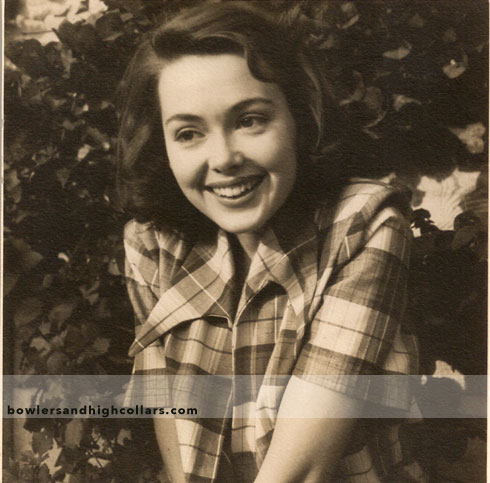 Barbara Rush 1950 candid. Snapshot. Private Collection.