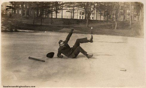 Falling On Ice. RPPC. Private Collection.