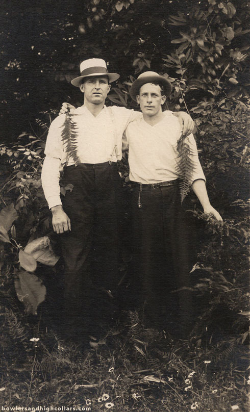 Two with ferns. RPPC. Private Collection.