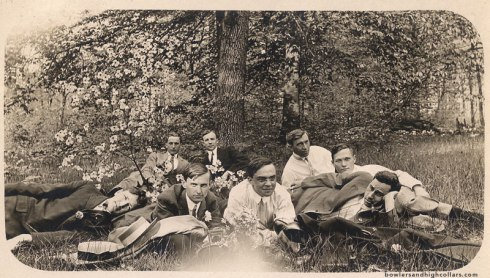 Gentlemen in nature with a tin of Bagdad tobacco. RPPC. Private Collection.