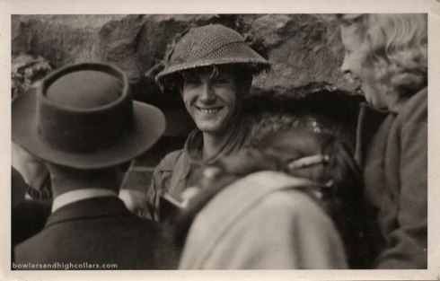 Smiling WWII soldier. RPPC. Private Collection.