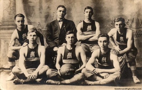 1911-12 basketball team. Collegians. RPPC. Private Collection.