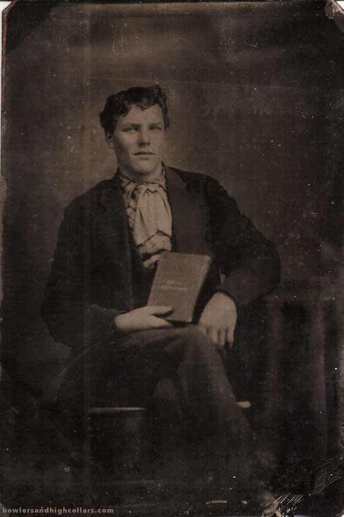 Young man with book. Tintype. Private Collection.