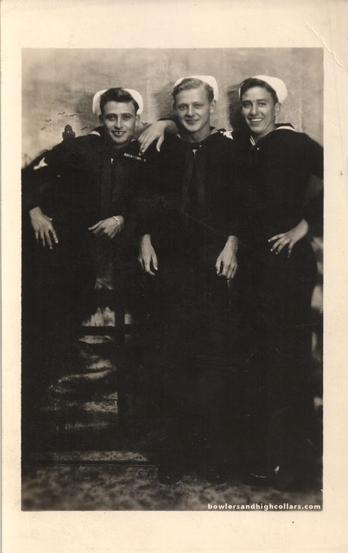 Three sailors. RPPC. Private Collection.