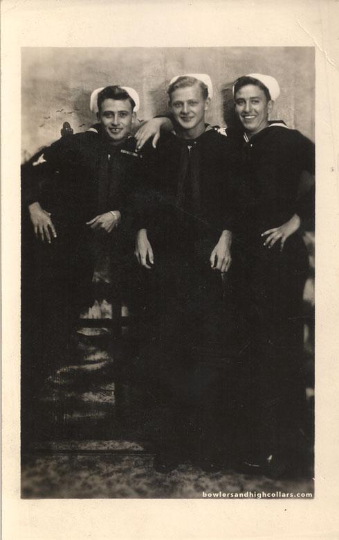 Three sailors. RPPC. Private Collection.
