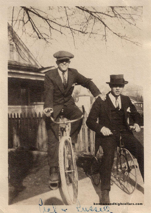 1920's snapshot. Russell on tricycle. Private Collection.