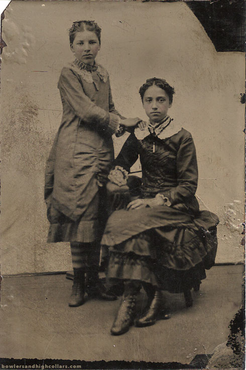 1880s teenage girls. Tintype. Private Collection.