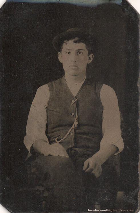 Young hatted man. Tintype. Private Collection.