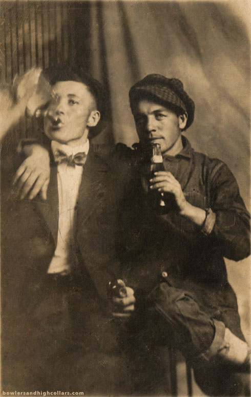 The drinking duo. RPPC. Private Collection.