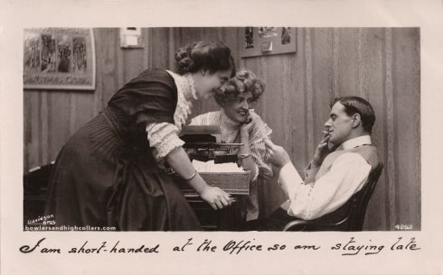 Staying late at the office. 1900s. Postcard. Private Collection.