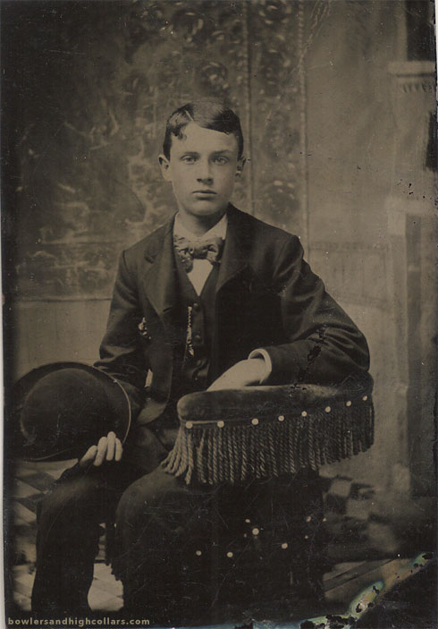 tintype-cute-boy-holding-bowler