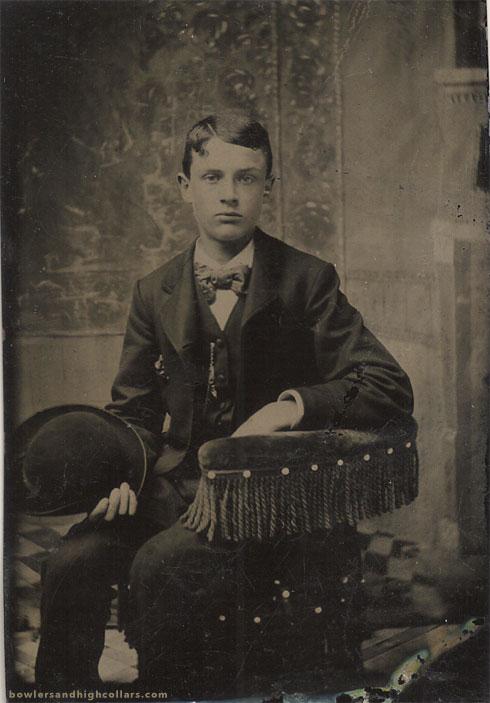 tintype-cute-boy-holding-bowler