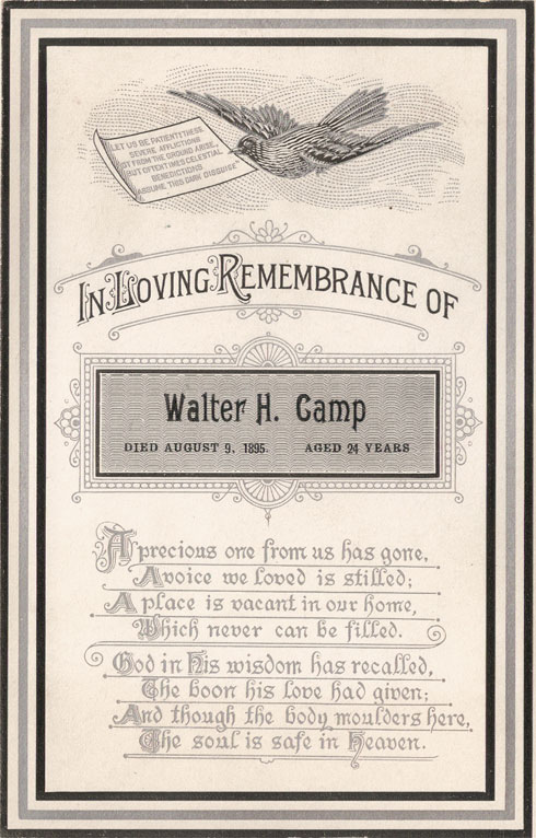 Walter Henry Camp's memorial card.